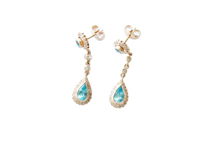 Blue Topaz Diamond  Earring in Gold