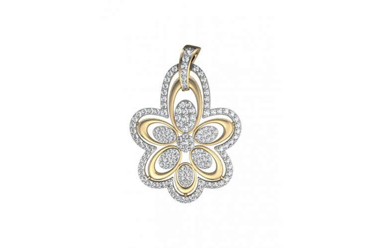 gold jewelry diamonds highly featuring dazzling design of an and this intricate pendant carats a designer pin round showcases luccello diamond by