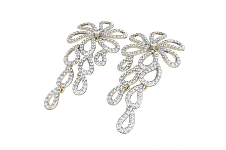 Long Diamond Floral Earring