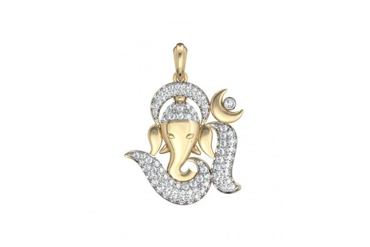 Buy Om Ganesh Diamond Pendant Online In India At Best Price Jewelslane
