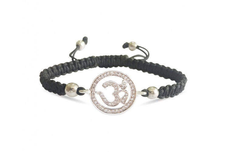 Om Diamond Bracelet in Silver