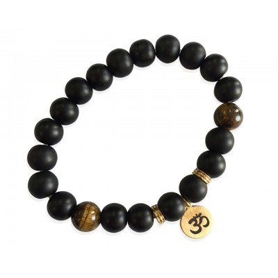 Aumkaara Positivity Bracelet with Tiger's eye & Black onyx in gold