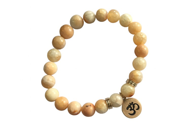 Aumkaara Harmony bracelet with Orange agate in gold