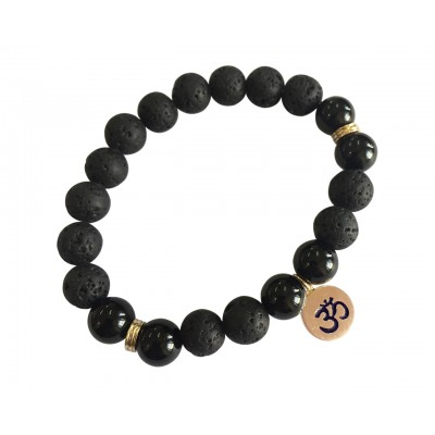 Aumkaara Stability bracelet with Lava Beads & Black onyx in gold