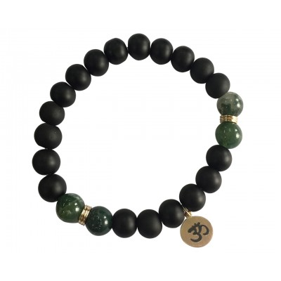Aumkaara Balance bracelet in gold with Moss Agate and black onyx