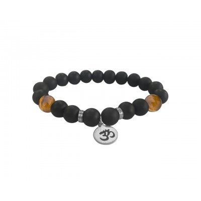 Aumkaara Positivity Bracelet with Tiger's eye & Black onyx in Silver