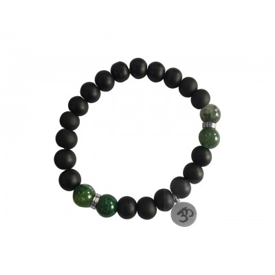 Aumkaara Balance bracelet in silver with Moss Agate and black onyx