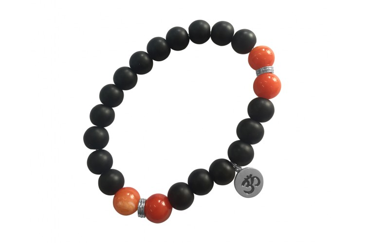 Aumkaara Motivational Bracelet with Black onyx and Carnelian