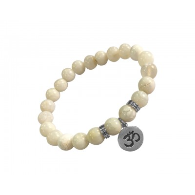 Aumkaara Tranquility Bracelet in silver with White Agate crystal beads
