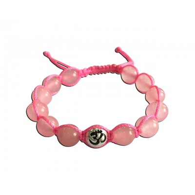 Rose quartz beads bracelet with silver om