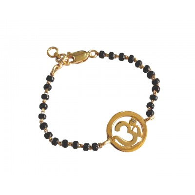 Gold Plated Om New Born Baby Bracelet In Silver