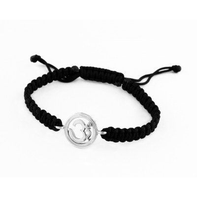 Om Bracelet in 92.5 Silver with a Diamond on Nylon Thread