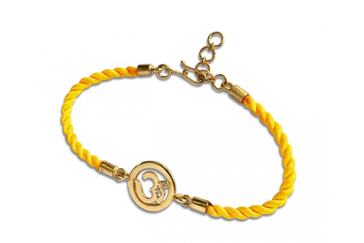 OM Bracelet On Nylon Thread with Gold Plated Adjustable Silver Lock for Girls