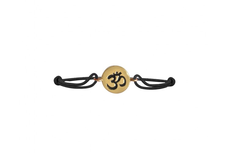 Gold Hallmarked 14k Om Rakhi On Adjustable Nylon Thread