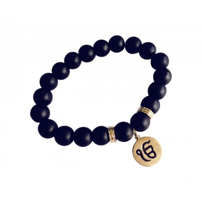 Gold Ik onkar bracelet in 14k on onyx beads