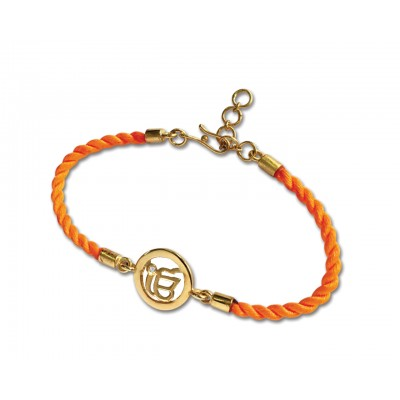Ik onkaar Bracelet On Nylon Thread with Gold Plated Adjustable Silver Lock for Girls