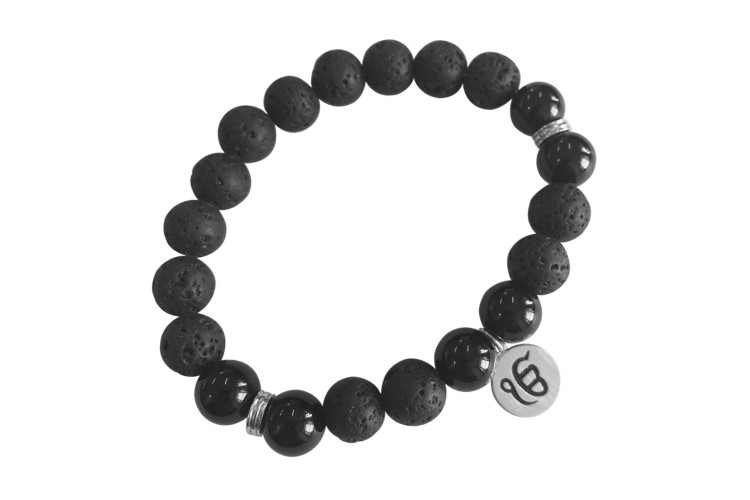 Aumkaara Stability bracelet with Lava Beads & Black onyx in silver