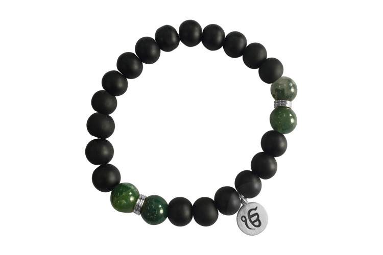Aumkaara Balance bracelet with Moss Agate and black onyx in silver