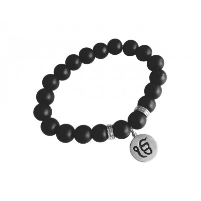 Silver Ik onkar bracelet on onyx beads