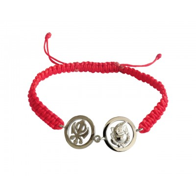 Auspicious Khanda & Ganesh Bracelet in silver with diamonds