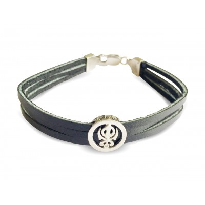 Khanda Silver Bracelet On Leather Strap for men with silver lock