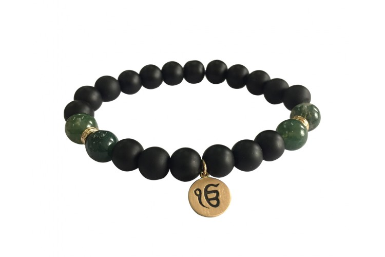 Aumkaara Balance bracelet with Moss Agate and black onyx in gold
