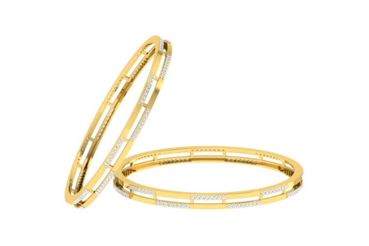 Diane Diamond Bangle Pair in Gold