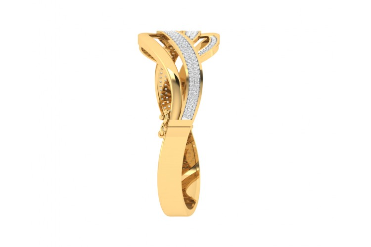 Riwa Designer Diamond Half Bangle in 14k gold