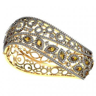 Diamond & Yellow Sapphire Bangle