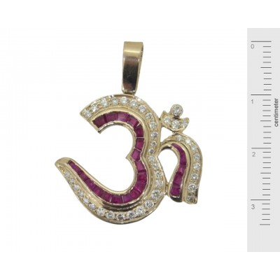 Om Pendant with Rubies in Gold