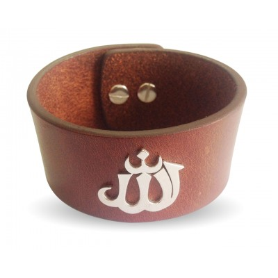 Wide leather Band Allah Bracelet