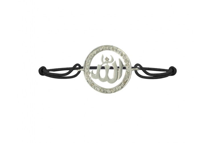 Allah Bracelet in silver Studded with 0.25cts Diamond