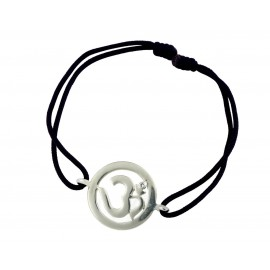 Om Single Diamond Bracelet Silver