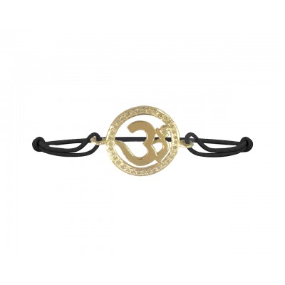 Om bracelet in Gold with diamond border