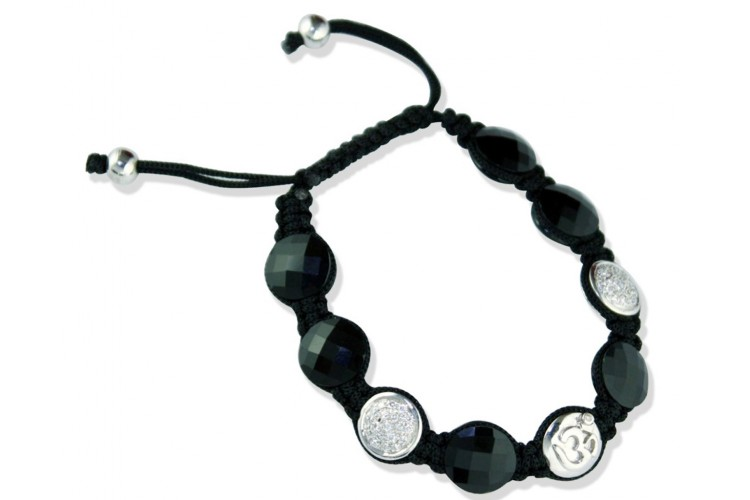 Om Bracelet with 2 Diamond Beads in Silver & Onyx