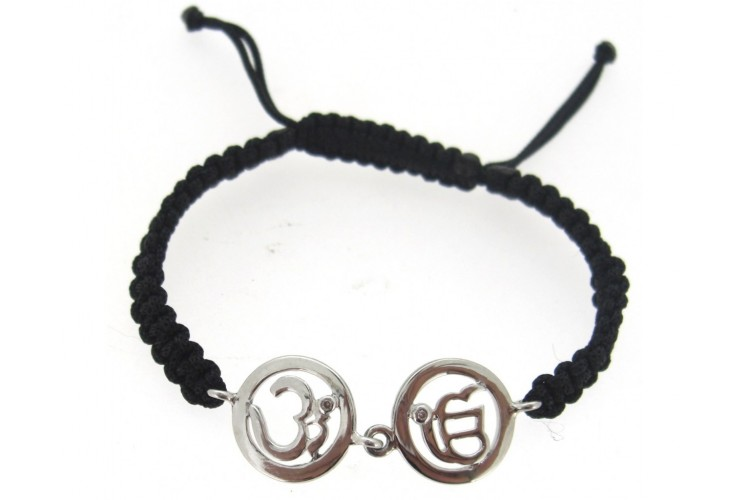Om & Ik Onkaar Bracelet in Silver with Diamonds on Nylon thread