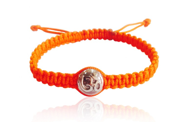 Aum Bracelet with Single Diamond Bead