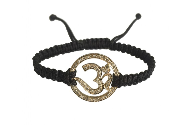 Auspicious Aum Bracelet in Gold with diamonds