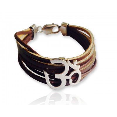 Wide Leather Om Bracelet