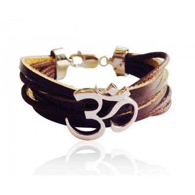 Wide Band Calligraphic OM Bracelet