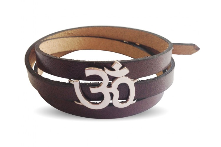Trendy Leather Wrap Om Bracelet