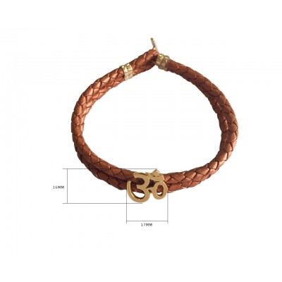 Gold Om Men's Leather Bracelet