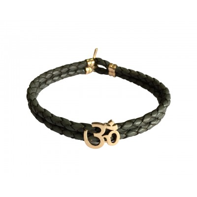 Gold Aum Men's Leather Bracelet