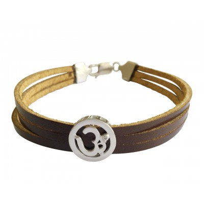Om Bracelet on Leather