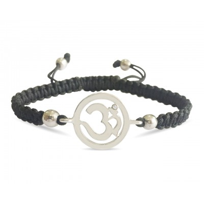 Auspicious Aum Charm Silver Bracelet for Girls