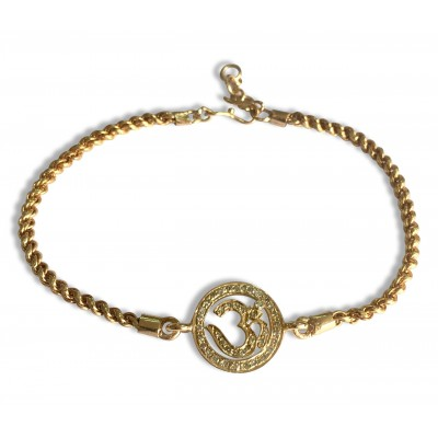 Diamond Om Bracelet set in gold on Gold Chain with adjustable length