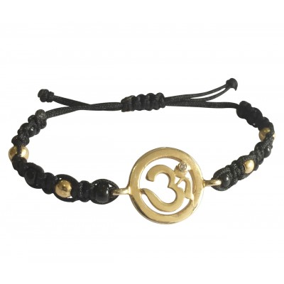 New Born Baby OM Bracelet in gold with black & gold beads for Nazaria
