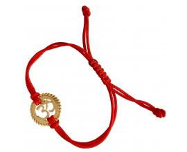 18k Gold Plated Om Rakhi In Silver On Free Size Adjustable Thread