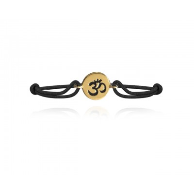 Auspicious Om Bracelet in 14k Gold for New Born Baby on adjustable black thread nazaria