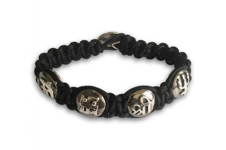 Auspicious Om, Swastik, Trishul & Shri all in one sterling silver Bracelet for Men